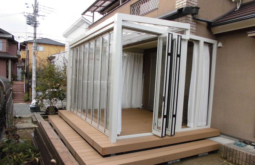 ガーデンルームジーマ 特殊な設置例